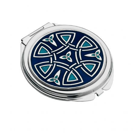 Blue Compact Mirror Celtic Trinity and Coils